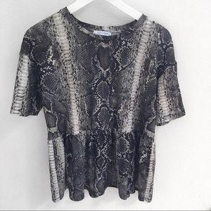 Zara Snake Print Drop Waist Ruffle Peplum Top NWOT
